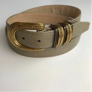 CARLISLE Genuine Leather Belt Gray Gold Buckle L